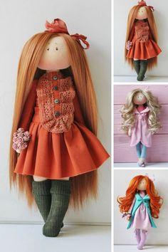 Best 12 Textile doll Bambole Soft doll Puppen Handmade doll Rag doll Interior doll Art doll Cloth doll Red doll Tilda doll Fabric doll by Olesya Doll Patterns, Clothing Patterns, Doll Toys, Baby Dolls, Red Dolls, Tilda Toy, Child Love, Soft Dolls, Fabric Dolls