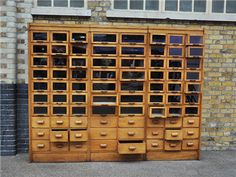 Not having anywhere to put this doesn't make me want it any less. Antique three-part oak framed haberdashery cabinet, from Elemental.