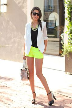 Neon paired with black and white, love the dressy shorts