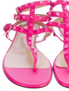 Valentino Rockstud Sandals in bright pink