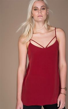 Ozsale - Strappy Sleeveless Blouse Claret Red - Ozsale.com.au