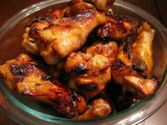 Honey-Garlic Chicken Wings  Ingredients:  3 lbs chicken wings, separated 1/3 cup Honey ¼ cup Lemon Juice ¼ cup water 2 Tbsp Coconut Aminos or Reduced Sodium Tamari Soy Sauce 2 Tbsp Apple Cider Vinegar 2 tsp Garlic Powder ¾ tsp Ground Ginger  1. Heat honey, lemon juice, water, soy sauce, vinegar, garlic and ginger in a small saucepan over medium-high heat. Turn heat down to low once it starts to simmer and let simmer for 5 minutes. Remove from heat and let cool. 2. Pour marinade over chicken…