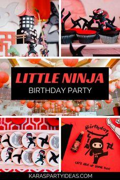 Little Ninja Birthday Party - Amazing Share Ninja Birthday Cake, Karate Birthday, Ninja Birthday Parties, Birthday Party Themes, Ninja Cake, Birthday Ideas, 7th Birthday, Birthday Wishes, Karate Party
