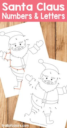 These cute Santa number & letters worksheet will be perfect for learning numbers and alphabet. And the fun part is that kids can color them too.