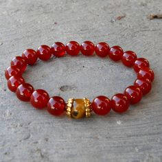 prosperity and stability - Carnelian and Tiger's eye genuine gemstone yoga mala bracelet #lovepray #bracelet