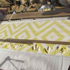 Our yellow diamond dhurrie in the process of being woven. #dhurrie #rug #yellow #print #design #home #homeware