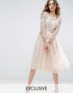 Needle and Thread Long Sleeve Embroidered Midi Dress - Pink Pink Sequin Dress, Pink Midi Dress, Long Sleeve Midi Dress, Embellished Dress, Dress Up, Dress Long, Jupe Midi Tulle, Robes Midi, Bridesmaid Dresses