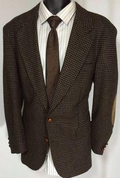 Joseph Richards 42S Tweed Blazer Houndstooth Sport Coat | Elbow Patches Free Tie #JosephRichards #TwoButton
