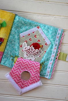 Quiet book page - birdhouse with velcro an lace pocket nest that holds a little felt bird