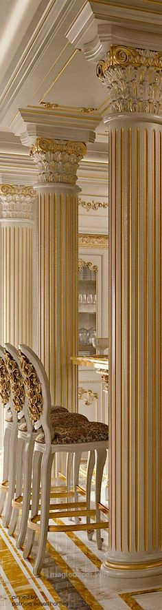 Beautiful LUXURY MANSIONS…❤ ivory and gold Corinthian columns and architectural detail. Neo-classical living room. Draperies for this style home available DesignNashville.com s ..