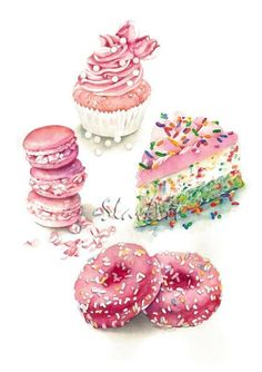 Birthday Collection Dessert Variety Food Illustration Watercolor Painting Art Print Kitchen Wall Decoration Home Interior Gift Idea Art Illustration Dessert, Illustration Mode, Food Illustrations, Watercolor Illustration, Watercolor Food, Watercolor Paintings, Painting Art, Silvester Trip, Logo Doce