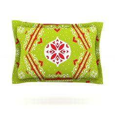 """Miranda Mol """"Snowjoy Green"""" Red Pillow Sham"""