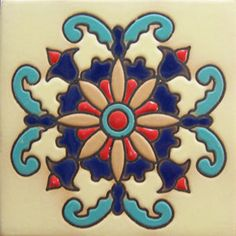 """Modern relief tiles are highly decorative. They are handcrafted by Rustica House in Mexico and often used for kitchen backsplash and stair risers. Relief Tile """"Monterrey"""" by Rustica House. Mosaic Backsplash, Kitchen Backsplash, Mosaic Tiles, Tiling, Kitchen Paint, Mexican Tile Kitchen, Mexican Tiles, Art Nouveau, Talavera Pottery"""