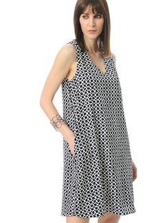 People By Fabrika - Kadın - Yazlık Elbise - PFKSS16EL0110 Desenli Bol Elbise,Siyah Beyaz,40 - 17203185 | Morhipo