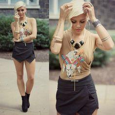 Wildfox Couture Shirt, She Inside Skirt, Urban Og Booties, By Samii Ryan Accessories