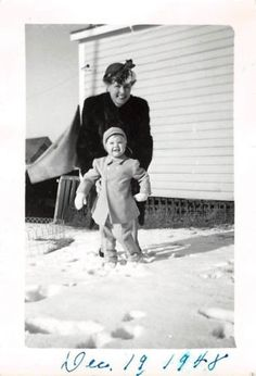 Black and White Vintage Snapshot Photograph Mother Baby Boy Snow Play 1940's