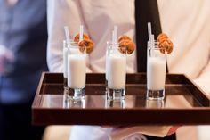 Mini milk shakes and cookies. Cute appetizer idea