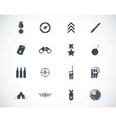 Black military icons set vector 1711475 - by Deadklok on VectorStock®