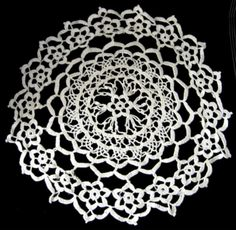 English Lacy Thread Crochet Doily Vintage Flower Center 1920s Centerpiece