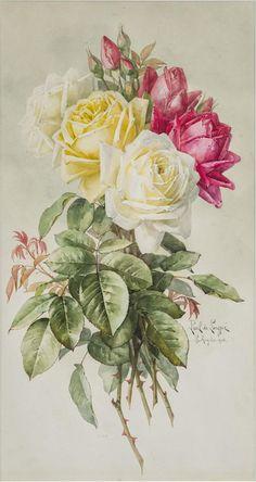 Royal Roses by Paul de Longpre (Art Print of Vintage Art) Art Floral, Flower Prints, Flower Art, Rose Pictures, Plant Drawing, Vintage Art Prints, Rose Art, Flower Images, Pretty Art