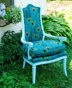 Peacock & Aqua Upcycled Antique Arm Chair by SittinPrettyDesign, $375.00
