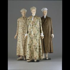 Banyan (middle), England, c. 1760. Cream brocaded floral silk. On the night the Haitian Revolution begins, Matthieu is wearing one of these, but blue and white striped.