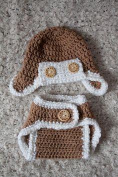 Crochet Korner Crochet Aviator Hat and Diaper Set by CrochetKorner, $20.00