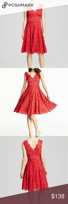 Vera Wang Scalloped Lace Fit & Flare Dress Add a kiss of red into your party ready wardrobe with this scalloped lace dress from Vera Wang.  *Like new condition* *Offers considered * Vera Wang Dresses Midi