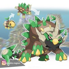 🌿 A Grass/ dragon type is all I want 💚 here is my reworked Turtwig line 🌿💚 What do you think guys? Pokemon Rayquaza, Oc Pokemon, Pokemon Dragon, Pokemon Comics, Pokemon Memes, Pokemon Fan Art, Pokemon Fusion, Pokemon Breeds, Cool Pokemon Cards