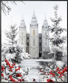 Salt Lake Temple in the snow