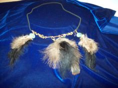 feather set on leather