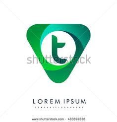 Logo T letter, green colored in the triangle shape, Vector design template…