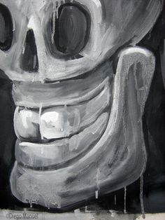 calavera que rie 5. Painting of the Serie Surrealism for sale by artist Diego Manuel