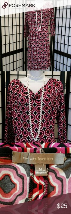 Pink Black Tunic Dress Excellent Condition, Accessories not included, Worn Once, Polyester/Spandex, 3/4 Elbow Sleeve, Stretch, Drop Collar, Cool Print, Thanks for sharing my closet, I will ALWAYS show Posh love by doing the same. NY Collection Dresses