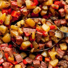 Toss leftover pastrami (is there such a thing!?) into a hearty breakfast hash. Yukon gold potatoes will keep their shape better than alternative, starchy varieties. From Chow, found at www.edamam.com.