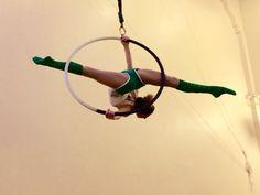Aerial hoop lyra horizon pose