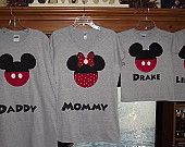 Minnie Mickey Mouse - Disney Birthday Family Custom T-Shirt Personalized Applique Head Tee Shirt Top. $16.00, via Etsy.