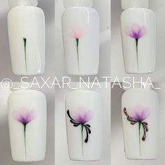 Another easy design _saxar_natasha_ Nail Art Hacks, Gel Nail Art, Pretty Nail Designs, Nail Art Designs, Swirl Nail Art, Lily Nails, Water Color Nails, Nail Art Techniques, Nagel Blog