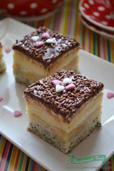 prajitura-cu-mere-mac-si-crema-de-vanilie-1 Romanian Desserts, Romanian Food, Romanian Recipes, Best Sweets, Pinterest Recipes, Cakes And More, Creme, Sweet Tooth, Sweet Treats