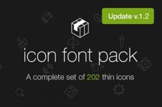 A custom @font-face icon font with scalable vector icons. This is a complete set of 202 thin stroke icons inspired by...