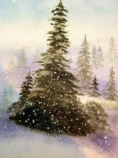 watercolor trees - snow