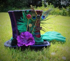 Hand Made Mad Hatter Top Hat. Full Size Top by FaerieInTheFoxglove