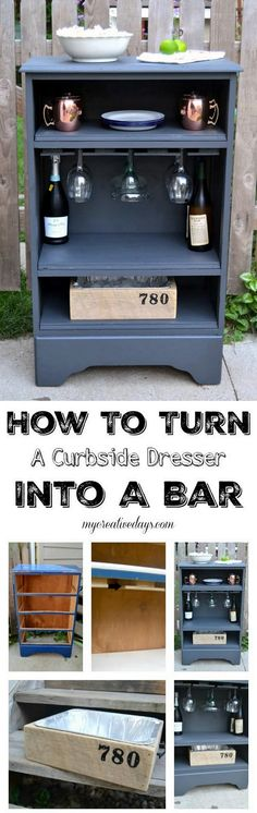 Check out this easy idea on how to #DIY turn a curbside dresser into a bar #homedecor on a #budget #wood #project @istandarddesign