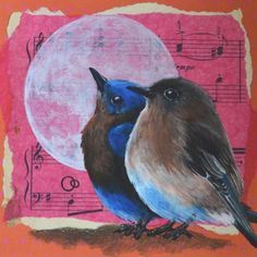 """Moonlight"" Original Hand Painted Collage £25.00"