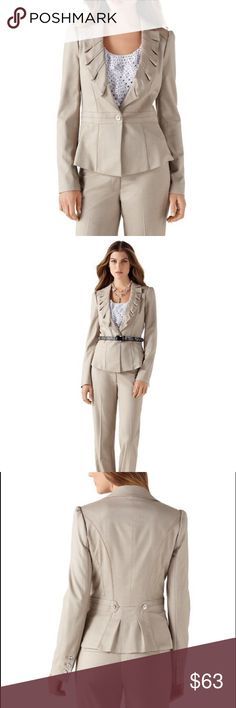 NWOT WHBM PLEATED LAPEL BIRDS-EYE JACKET Size 8 Box-pleated lapel with a ruffled edge brings distinction to a soft tweed jacket. With a button-accented tabbed belt in back above a double pleat. * Princess-seamed silhouette. * Notched collar. One-button stance with pieced waistband. Sleeves have a placket cuff with three working buttons. * Lightweight satin dot lining bound in Begonia Pink. Signature coat chain. My prices are firm. They are the lowest I can go. I'm sorry, I do not offer a…