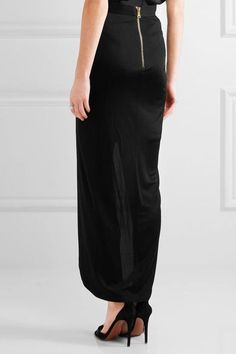 Balmain - Wrap-effect Jersey Skirt - Black - FR36