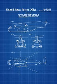 1964 Helicopter Design Patent - Helicopter Blueprint Helicopter Patent Vintage Helicopter Aviation Art Pilot Gift Aircraft Decor by PatentsAsPrints #patentdrawing