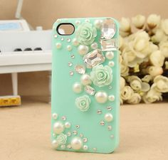 Bling iPhone 4 case, iPhone case - Pearl, Crystal and Rose Studded Bling Phone Cases, Diy Phone Case, Cute Phone Cases, Diy Case, Iphone 5 Cases, Coque Iphone, Iphone Phone Cases, Phone Covers, Mint Green Flowers