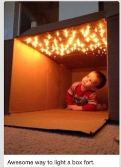Rainy day activity. Lighted box for toddler