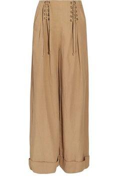 Ulla Johnson - Gaucho Pleated Broadcloth Wide-leg Pants - Light brown - US10